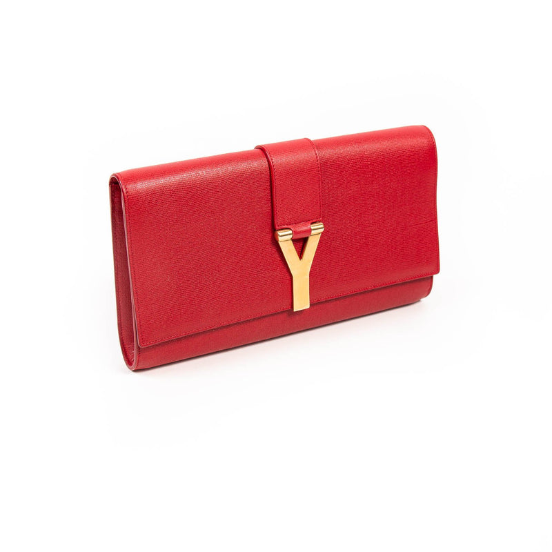 Buy & Consign Authentic Saint Laurent Calfskin Classic Y Ligne Clutch Red at The Plush Posh