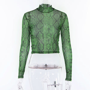 Green Snake Print Mesh Long Sleeve Crop Top