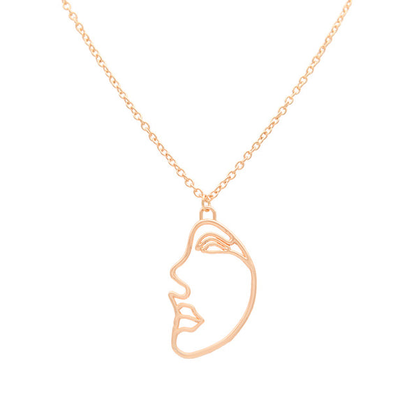 Abstract Human Face Gold Necklaces