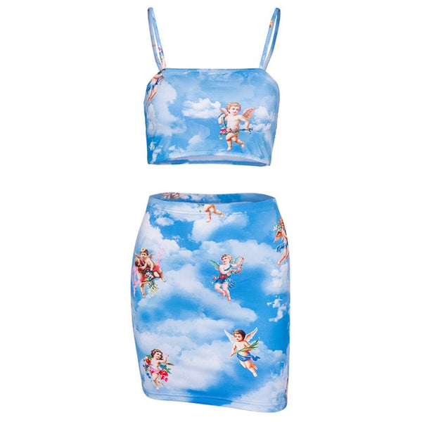 Blue angel printed 2 piece set