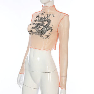 Transparent Dragon Crop Top - RE Apparel