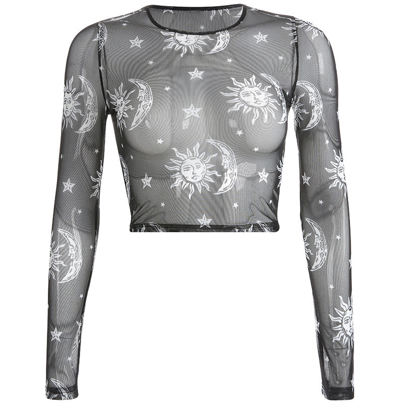 Moon and Sun Transparent Crop Top - RE Apparel