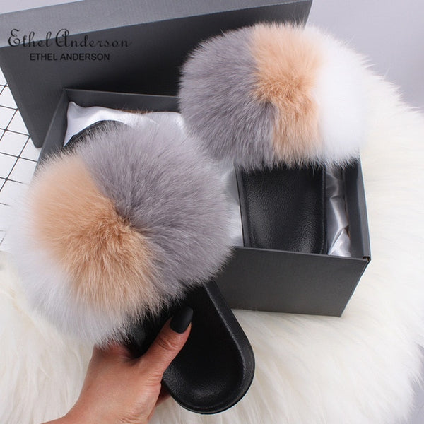 Furry Slip on Sandals - RE Apparel