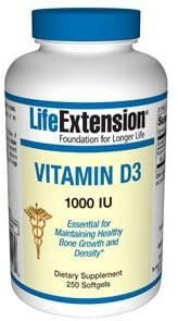 Life Extension Vitamin D3 1000 IU 250 Softgels - Natural Health Store