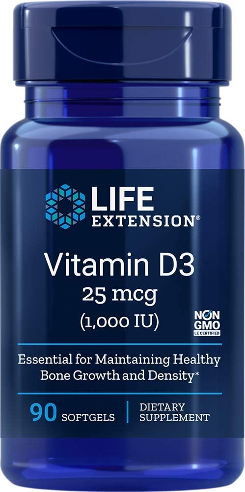 Life Extension Vitamin D3 1000 IU, 90 softgels - Natural Health Store