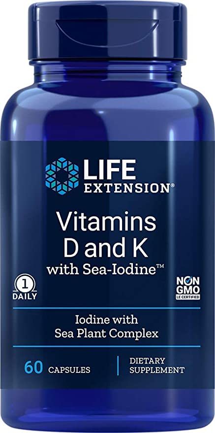 Life Extension Vitamin D and K with Sea-Iodine, 60 Capsules - Natural Health Store