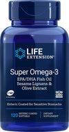 Life Extension Super Omega-3 (Fish Oil) EPA/DHA with Sesame Lignans & Olive Extract, 120 Enteric Coated Softgels, Package may vary - Natural Health Store