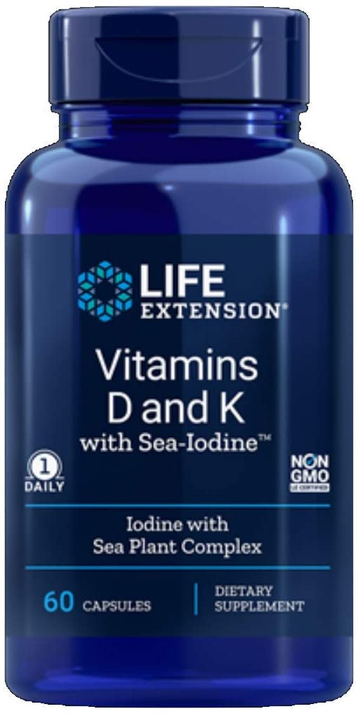 Life Extension Vitamins D and K with Sea-Iodine 60 Capsules (2pack) - Natural Health Store