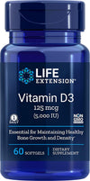 Life Extension Vitamin D3, 5000 IU, 60 Softgels, 60ct - Natural Health Store