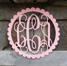 Load image into Gallery viewer, Wooden Monogram - Vine Script Font - Scallop Circle Border