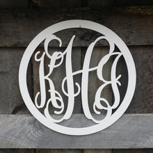 Load image into Gallery viewer, Wooden Monogram - Vine Script Font - Circle Border