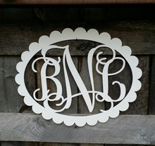 Load image into Gallery viewer, Wooden Monogram - Vine Script Font - Scallop Oval Border