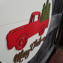 Load image into Gallery viewer, Red Truck Christmas Door Hanger - Shiplap Merry Christmas Sign