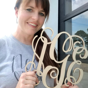 Wooden Three Letter Monogram - 10 Inch (special offer)