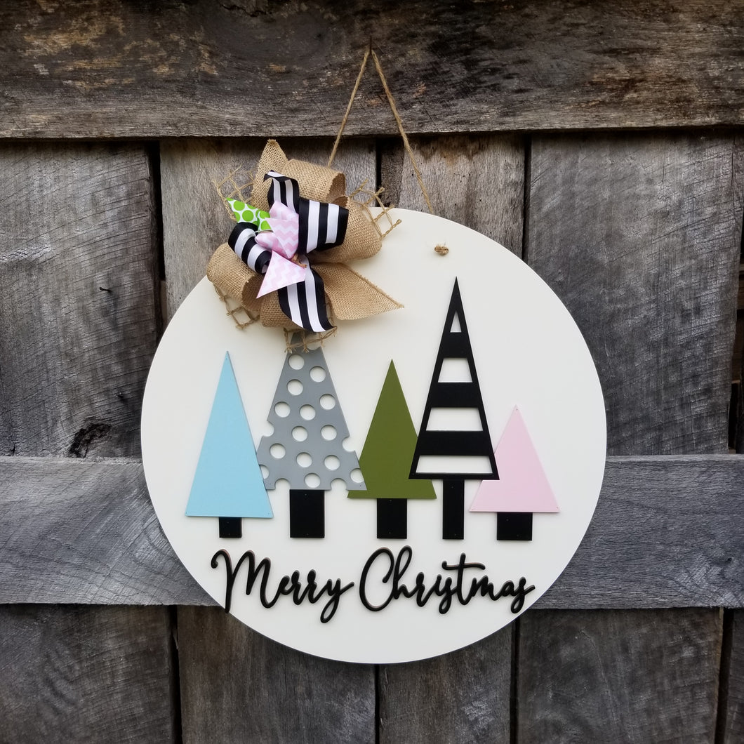 Christmas Tree Door Hanger - Merry Christmas Wreath