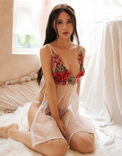 Load image into Gallery viewer, Rose Red Embroidery Babydoll Nightwear