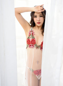 Rose Red Embroidery Babydoll Nightwear