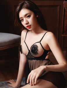 Romancing After Night Black Babydoll
