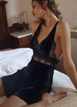 Load image into Gallery viewer, Black Maiden Nightdress & Slip