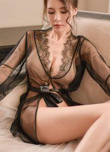 Flirting Beauty Robe Set (2-pieces Black)
