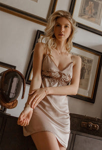 Satin Designer Chemise - Coffee Milk