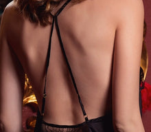 Load image into Gallery viewer, Naomi BLK Semi-transparent Open Back Chemise Slip