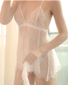 Naomi Lace Design Transparent Mesh babydoll