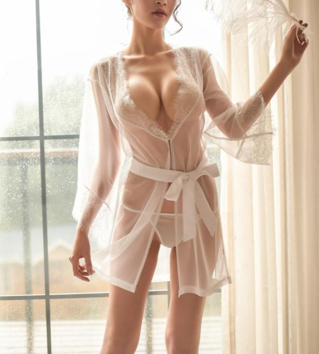 Flirting Beauty Robe Set (2-pieces White)