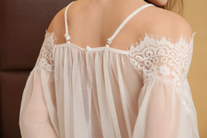 Off Shoulder Lace Babydoll (White)