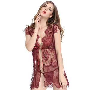 Floral Lace & Stripe Babydoll (Red)
