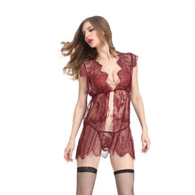 Load image into Gallery viewer, Floral Lace & Stripe Babydoll (Red)