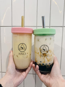 Matte Pastel Bubble Tea Large Set - Cup, Straw & Bag (700ml/24oz)