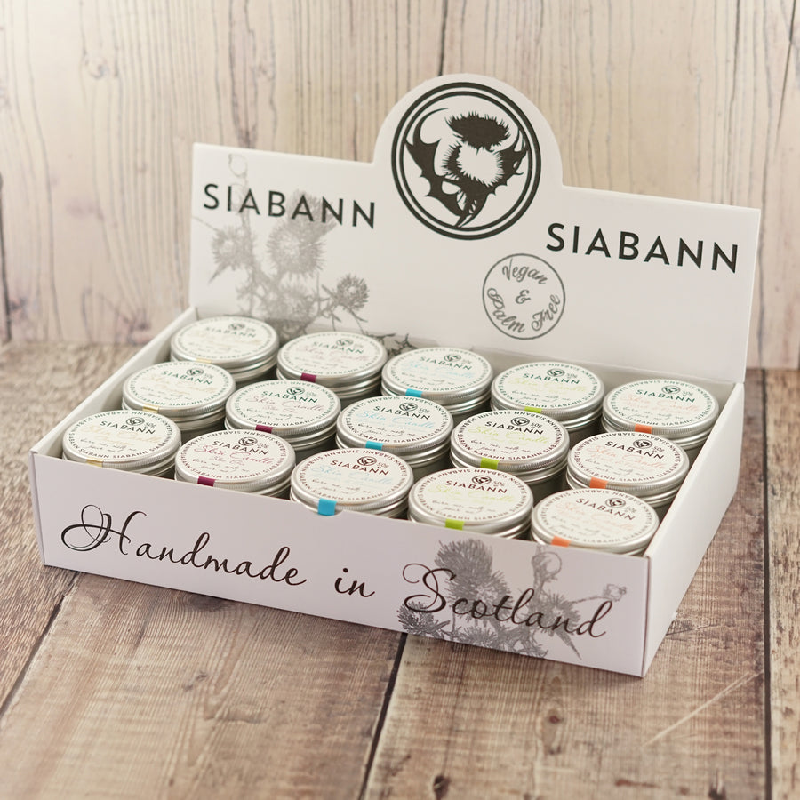 Siabann scottish natural warm oil skin candle shea butter vegan nourishing sloe gin champagne trade carton