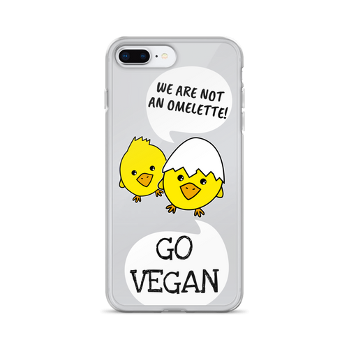 GO VEGAN - iPhone+Samsung Transparent Phone Case *Chickens*