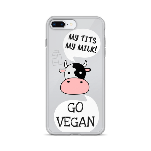 GO VEGAN - iPhone+Samsung Transparent Phone Case *COW*