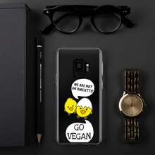 Load image into Gallery viewer, GO VEGAN - iPhone+Samsung Transparent Phone Case *Chickens*