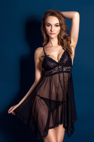 Lingerie for Women Sexy Sheer Gown See Through | Women's sexy underwear with large suspender and sexy nightdress