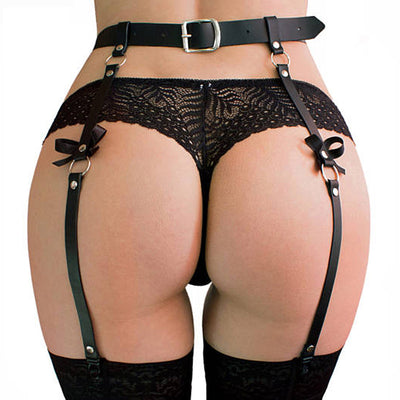 O-Ring WaistBand | Sexy PU Leather Garter Belts Stockings Suspenders for Women - BULULU-SHOP (4251298529339)