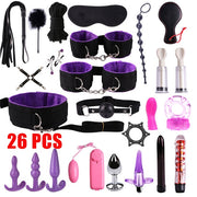 BDSM Games Adult Sex Toys Kit For Couples | Dildo Vibrator Anal Plugs Handcuffs Whip Nipples Clip Blindfold Breast Pump - BULULU-SHOP
