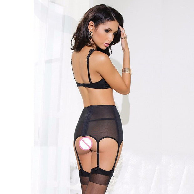 Garter Bow Women Black Lace Perspective Bandage | Erotic Porn Sexy Lingerie Hot Sexy Underwear - BULULU-SHOP