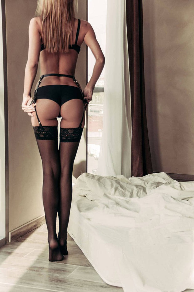 O-Ring WaistBand | Sexy PU Leather Garter Belts Stockings Suspenders for Women - BULULU-SHOP
