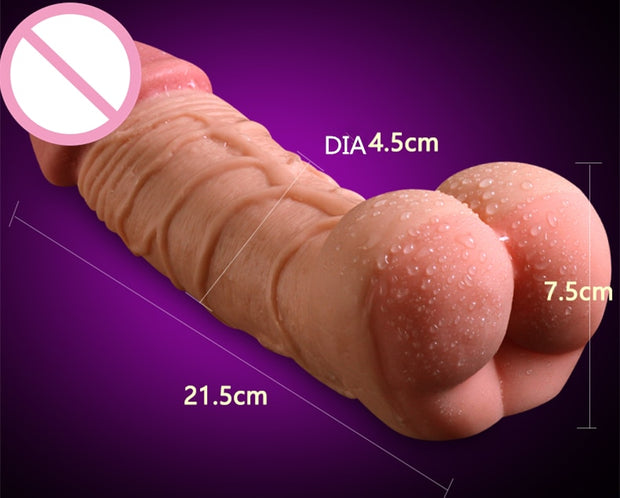 Gay Sex Toys | Realistic Penis Enlarger Sleeve with Pussy Fake Ass Men Masturbator Women Masturbator Real Dildo for Couples - BULULU-SHOP