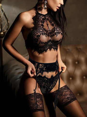 Lingerie Sexy | Hot Erotic Bra + Thongs Garters Set Sexy Sleepwear Exotic Underwear Porn Sex Costumes Transparent Lace Babydoll
