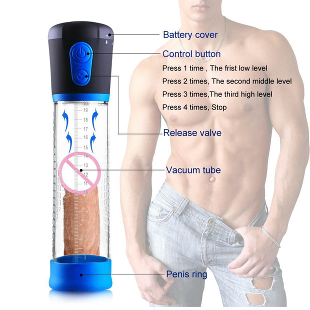 Penis Enlargement Enhancer Massager Ring | Electric Penis Pump Sex Toys for Men Male Masturbator Penis Extender Penile Vacuum Pump - BULULU-SHOP (4322528133164)