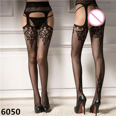 Black Cutout Stocking Mesh Pattern High Long Tights | Sexy Women Pantyhose Tights Thin Sexy Lady Open Crotch Elastic Stockings