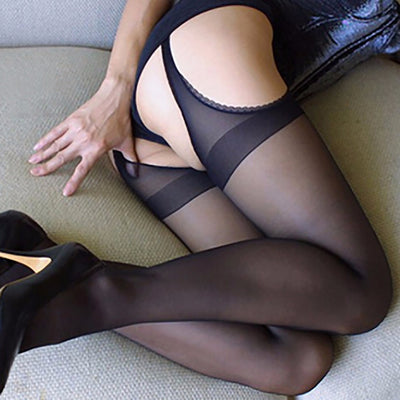 Female Black Stocking Erotic Lingerie | sexy pantyhose for Women four Sides Open Crotch Crotchless Tight Stockings - BULULU-SHOP
