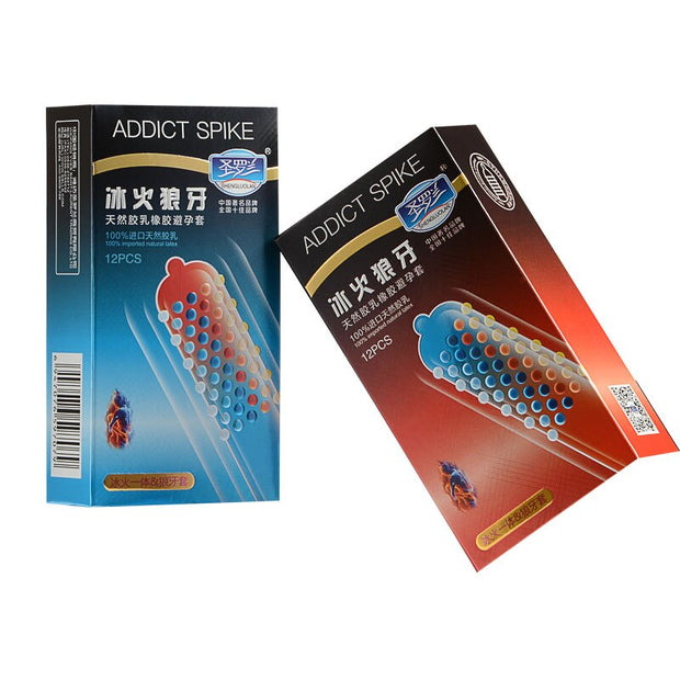 Adult Sex Products | 24pcs/Lot Ice And Fire Stimulate Dotted Gspot Condoms - BULULU-SHOP