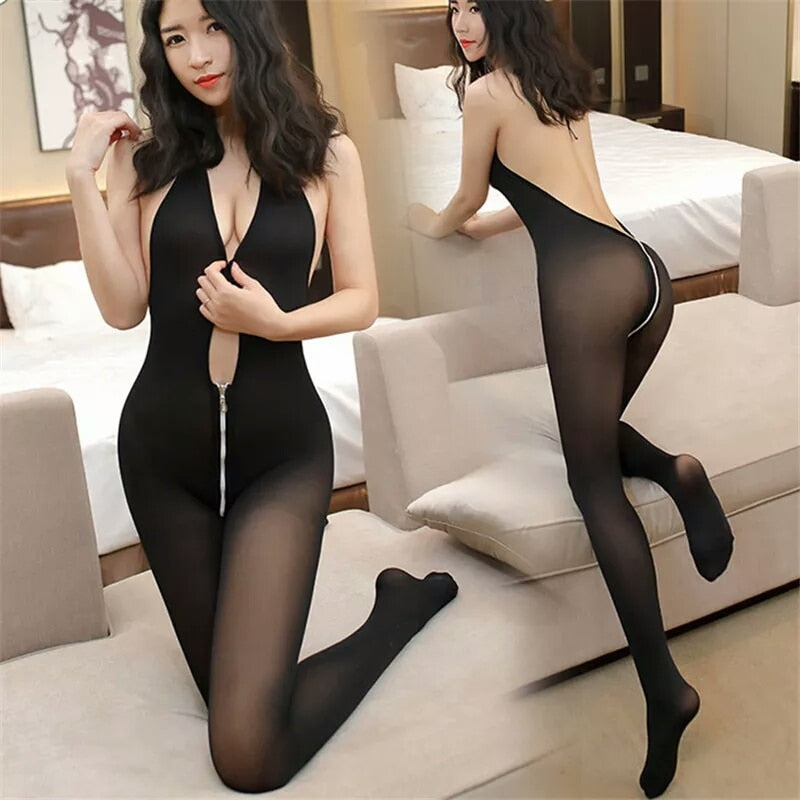 Eroitc Lingerie Sexy Costumes Open Crotch Tights Female Sexy lingerie | Women Deep V Zipper Nylon