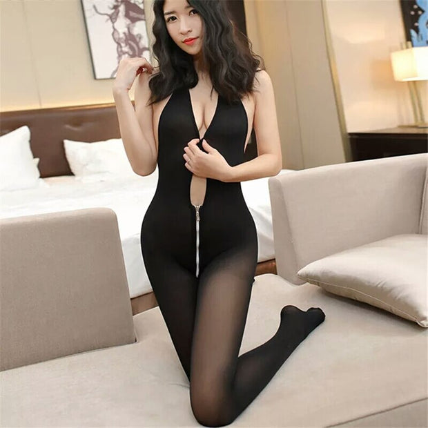 Eroitc Lingerie Sexy Costumes Open Crotch Tights Female Sexy lingerie | Women Deep V Zipper Nylon - BULULU-SHOP (4350453612588)