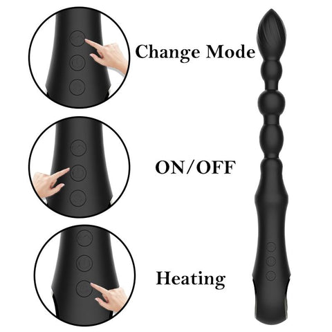 Sex Toys For Men Women | 10 Mode Heating Anal Vibrator long Beads Prostate Massager USB charge Flexible Butt Plug Stimulator